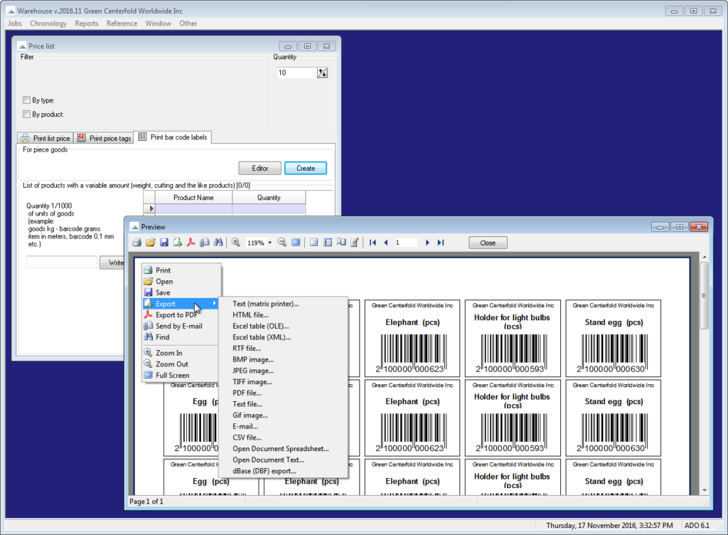 06. Create product labels Barcode. The ability to generate and print labels your desired product.